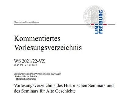 Bild: Kommentiertes Vorlesungsverzeichnis WS 2021/22